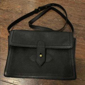 Madewell The Sketchbook Black Leather Messenger Pu